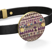 Load image into Gallery viewer, Leather Bracelet purple Moroccan and Berber patterns