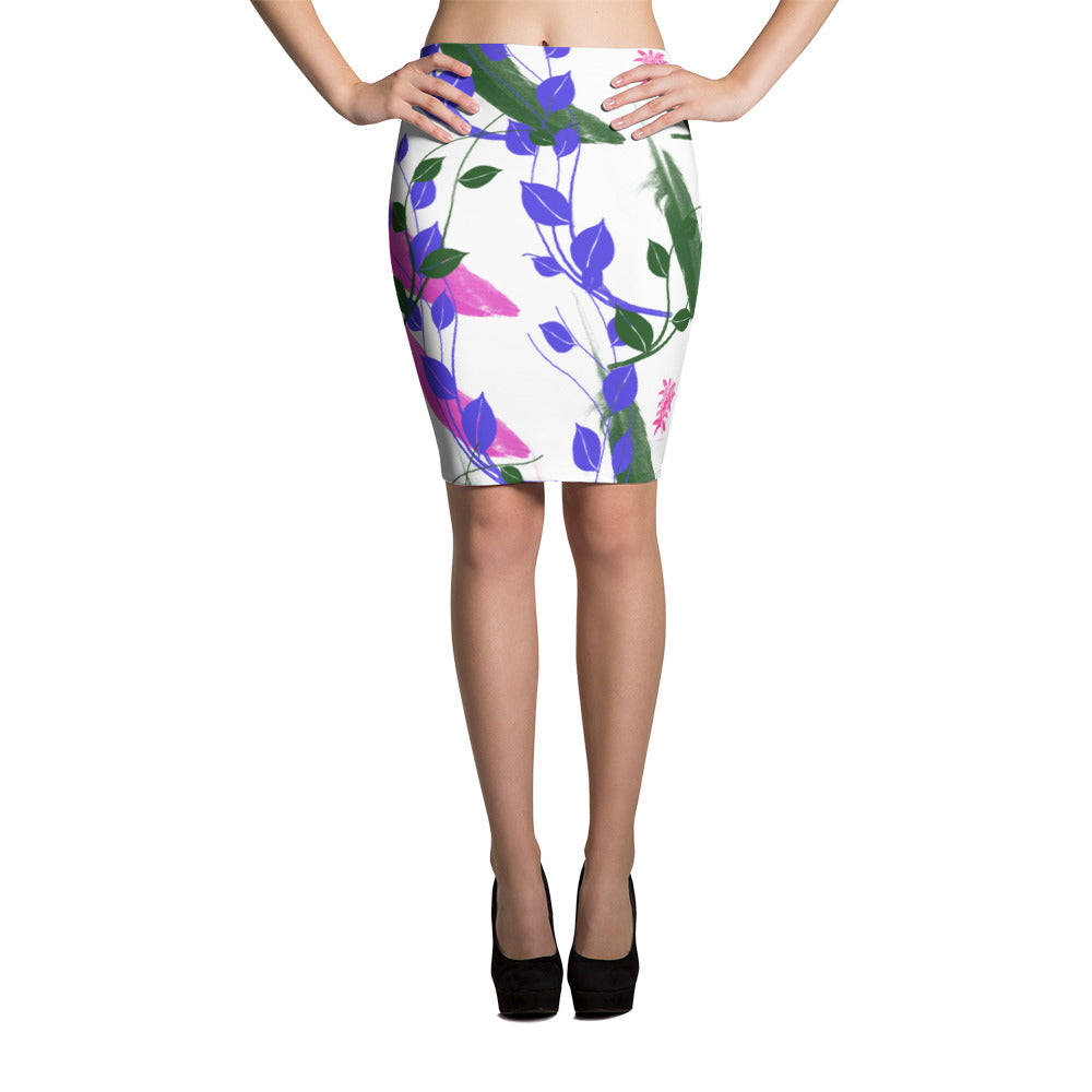 Floral white Pencil Skirt whit purple and blue pattern