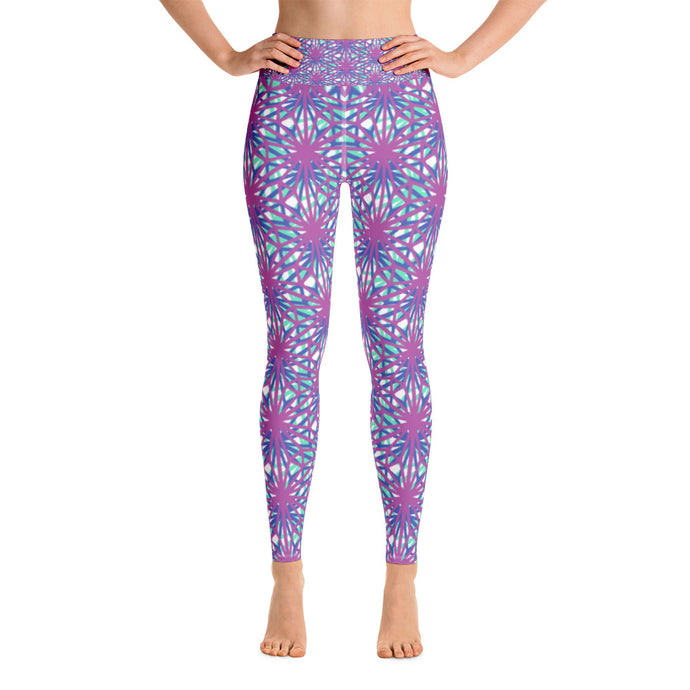 Yoga Leggings - Purple and pink arabesque lines