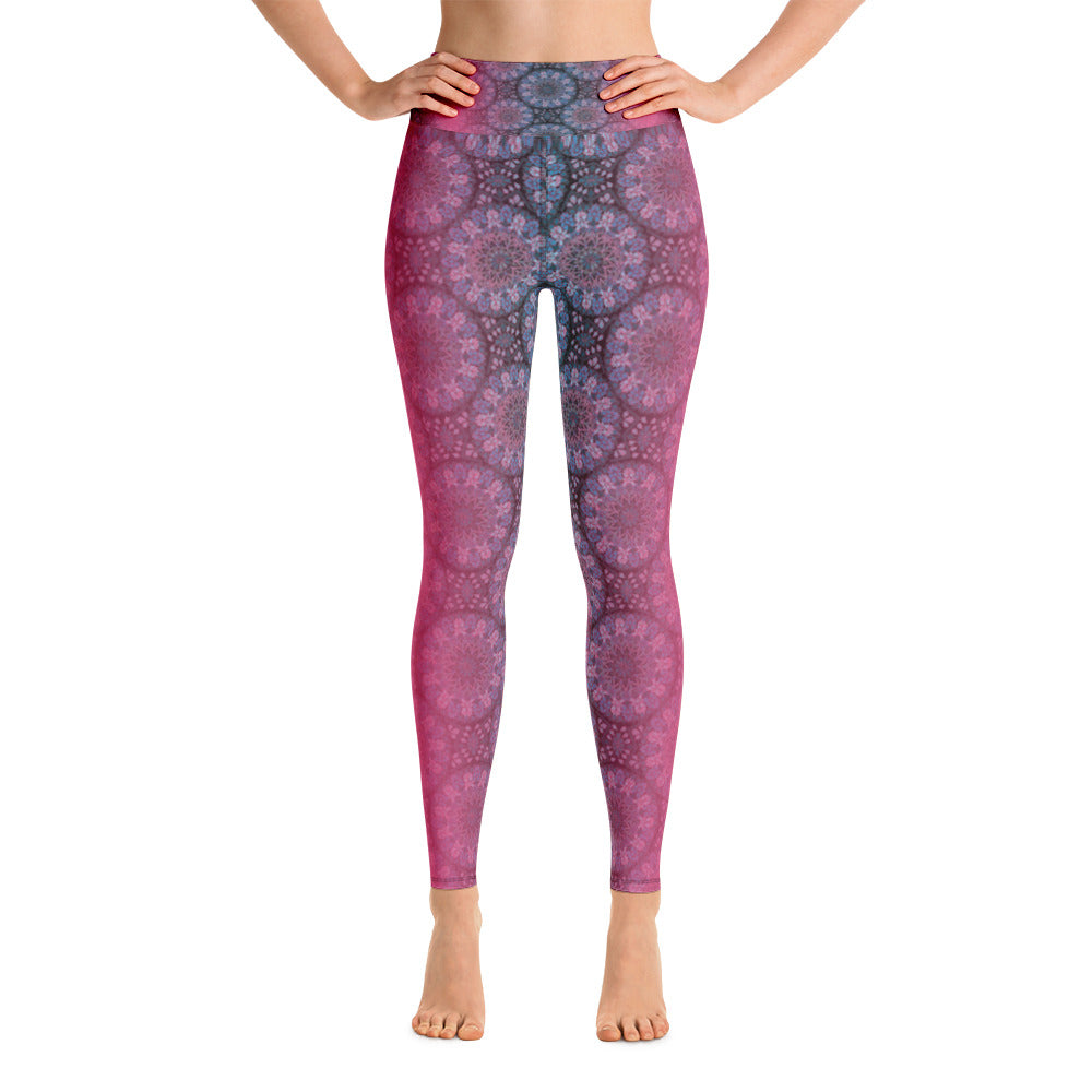 Yoga Leggings - Pink and black gradient mandala patterns