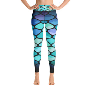 Yoga Leggings - Mermaid blue patterns