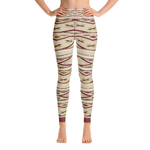 Yoga Leggings - Boho red lines