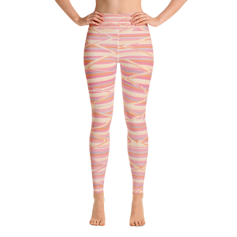 Yoga Leggings - Pink boho lines