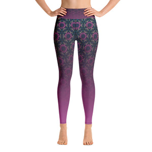 Yoga Leggings - Purple and green gradient arabesque