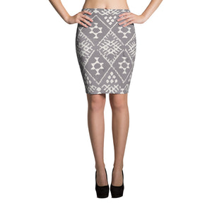 Grey ethnic pencil skirt