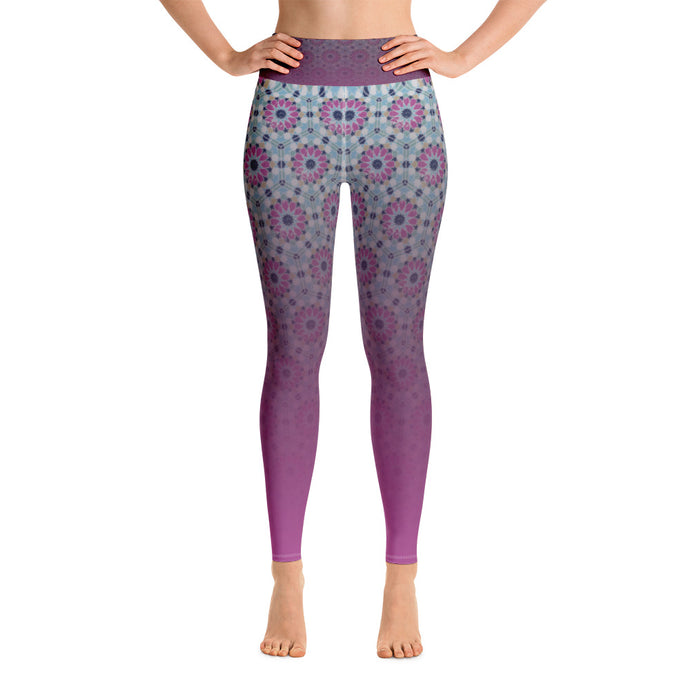 Yoga Leggings - Purple flower gradient arabesque