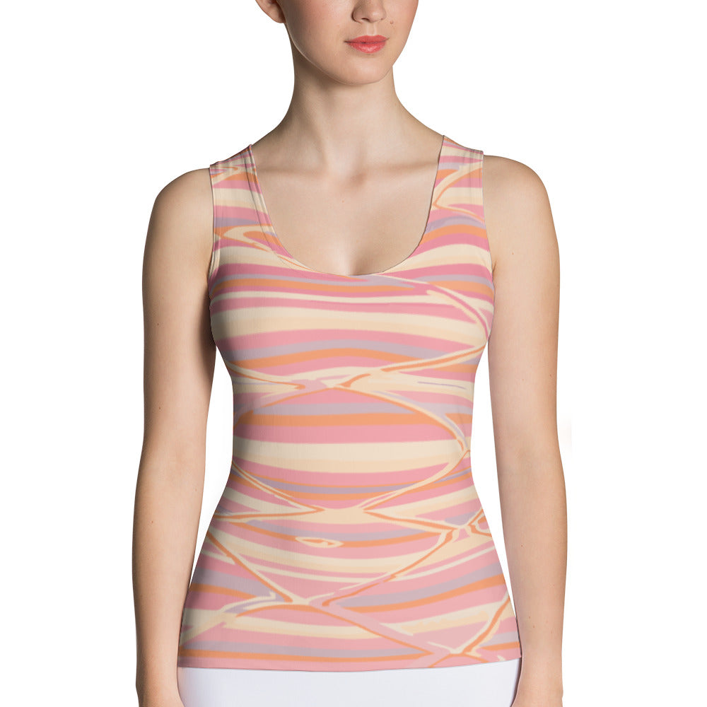 Sublimation Cut & Sew pink colorful Tank Top bohemian pattern