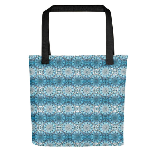 Tote bag Moroccan style pattern and mandala blue