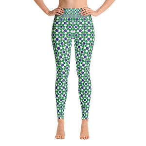 Yoga Leggings - Green and blue arabesque