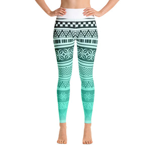 Yoga Leggings - Gradient green black pattern