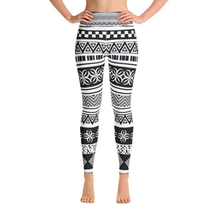 Yoga Leggings - White and black ethnic patterns
