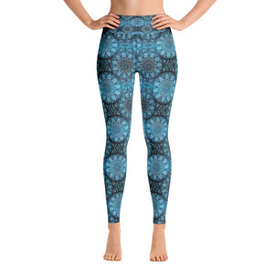 Yoga Leggings - Blue and black mandala pattern