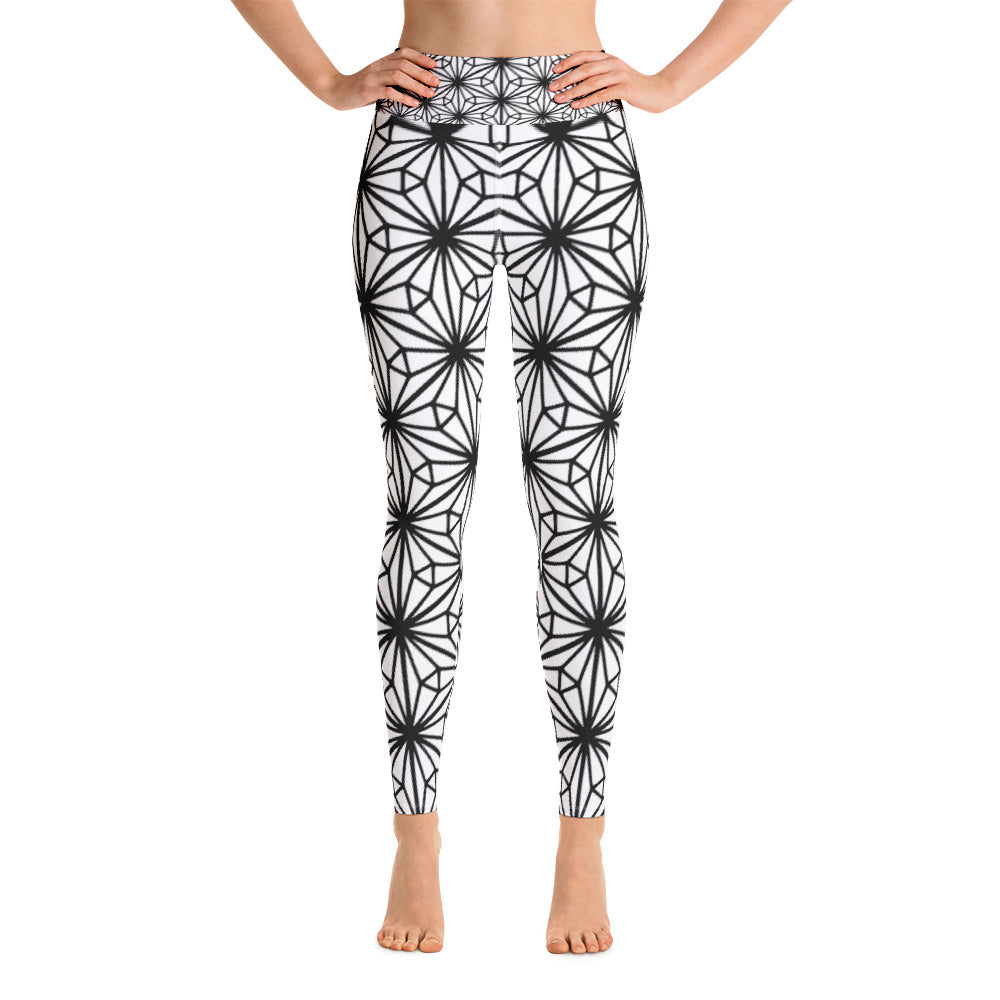 Yoga Leggings - Black arabesque design
