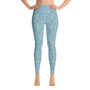 Yoga Leggings - Blue and white mandala patterns