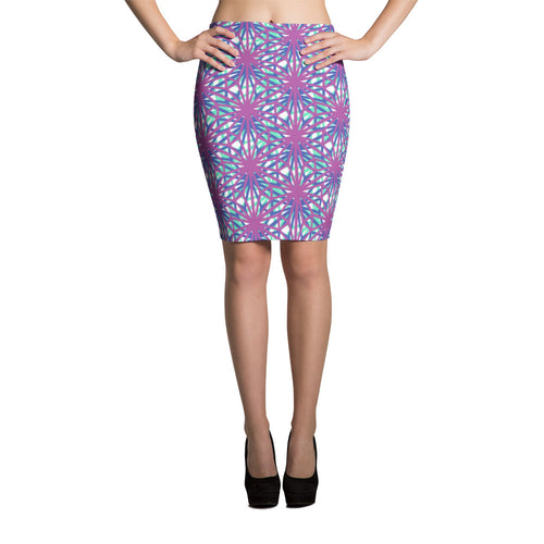 Pink and blue Pencil Skirt with moroccan ethnic pattern