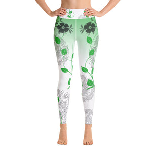 Yoga leggings with flowers and green pattern