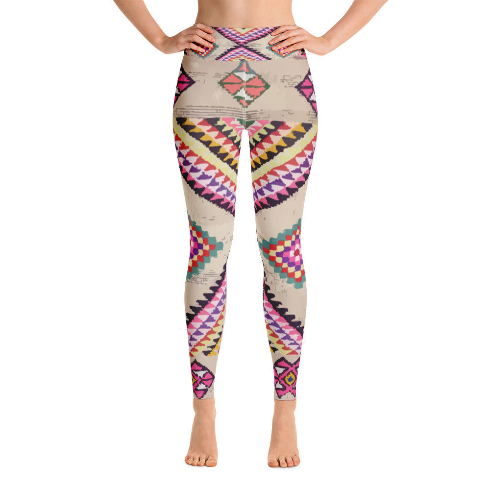 Yoga Leggings - Vintage artsy pink patterns