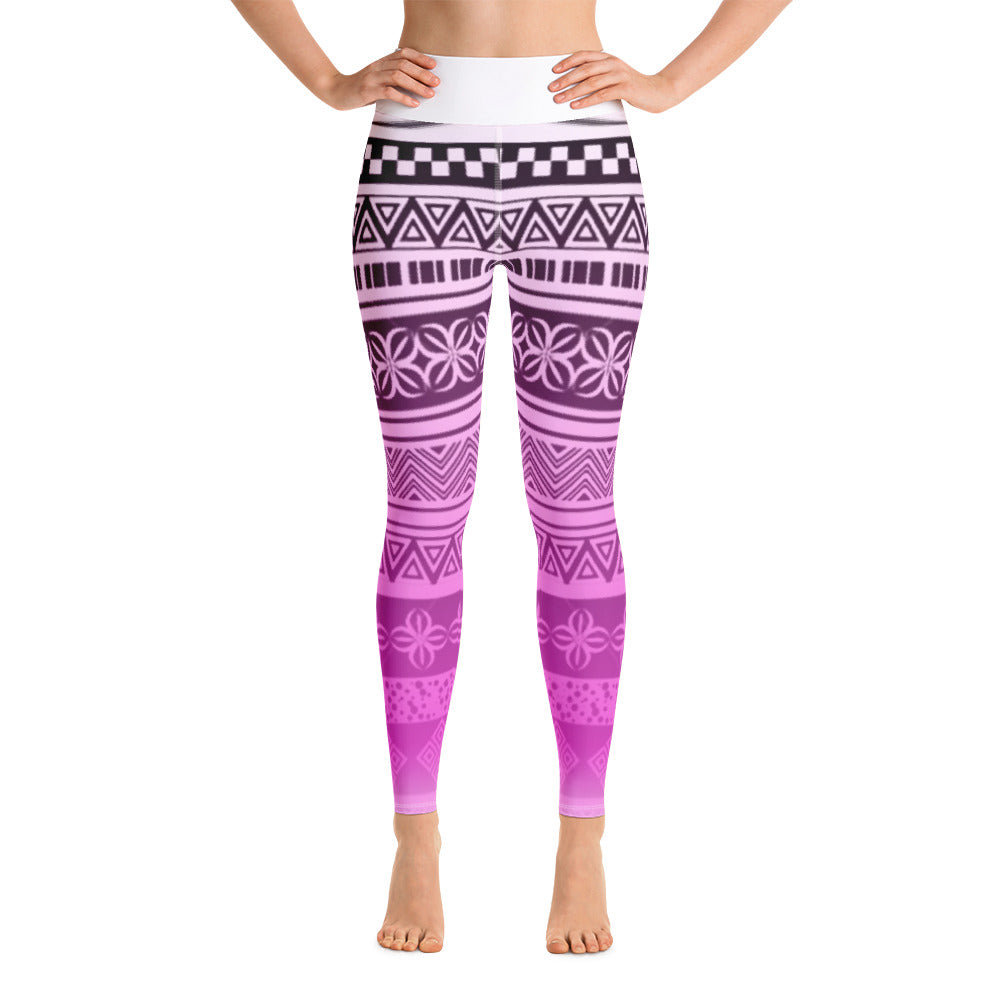 Yoga Leggings - Pink gradient black lines and patterns