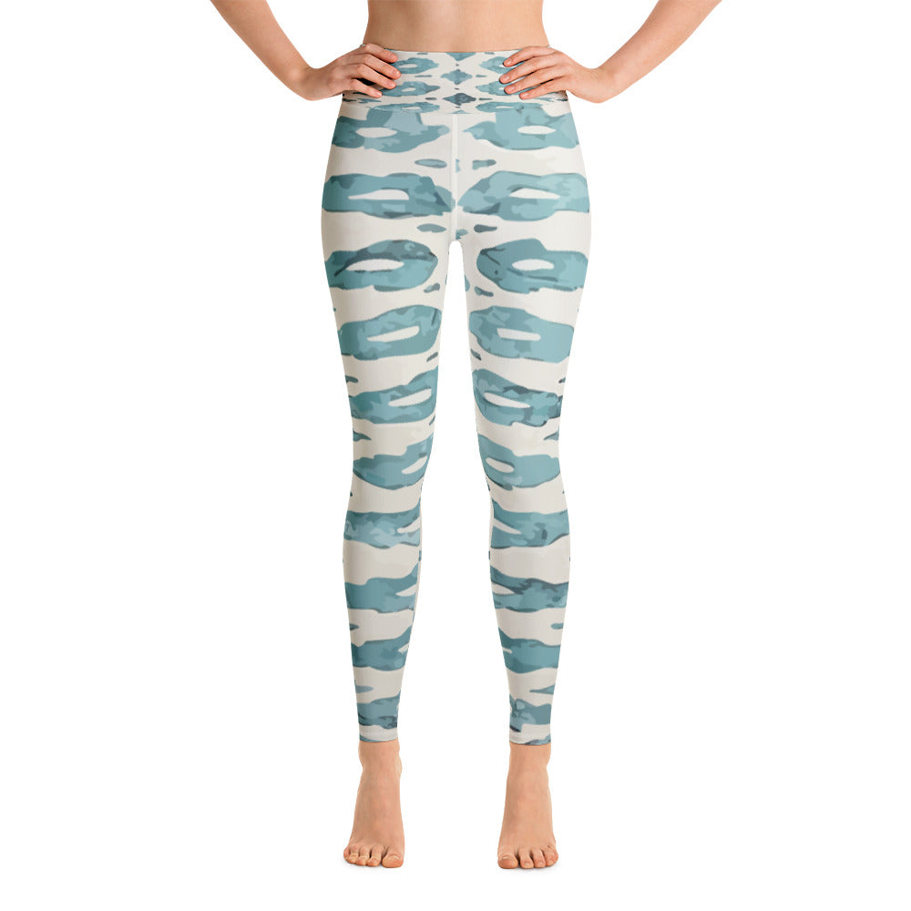 Yoga Leggings - Blue boho and white patterns