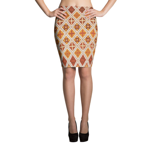 Vintage Pencil Skirt moroccan style with berber patterns beige and brown