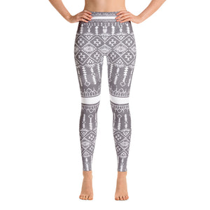Yoga Leggings - Boho grey and white mandala