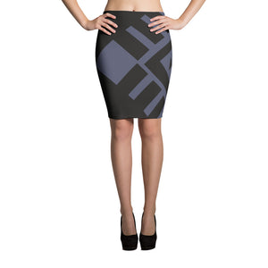 Black and grey pencil skirt