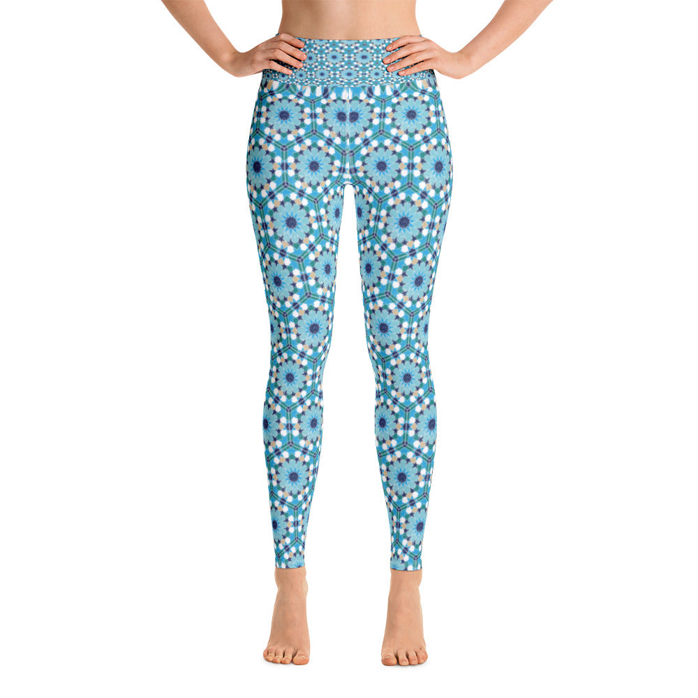 Yoga Leggings - Blue flower arabesque