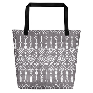 Moroccan Beach Bag grey and white original pattern
