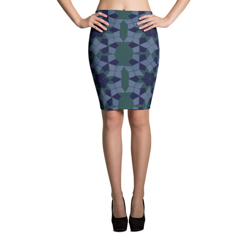 Blue and green ethnic pencil skirt