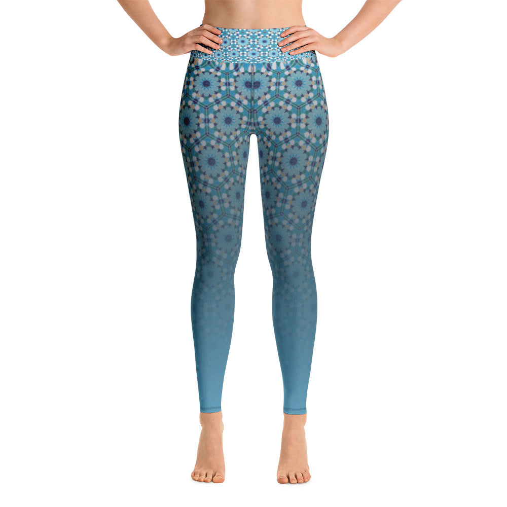Yoga Leggings - Gradient blue flower arabesque pattern