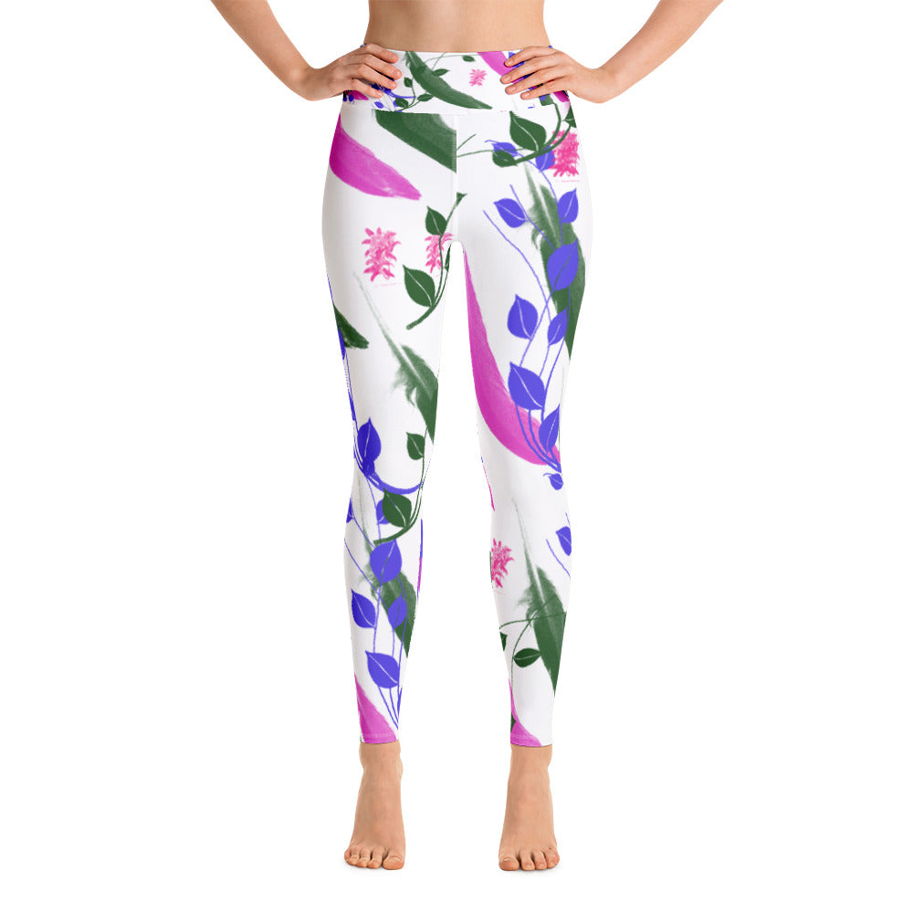 Yoga Leggings - Artsy bohemian flowers