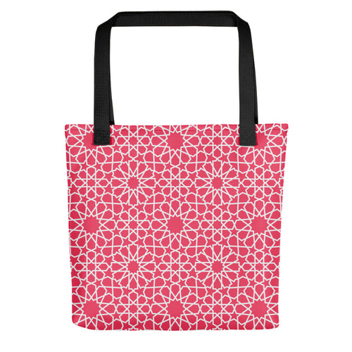 Pink Tote bag with Moroccan style pattern