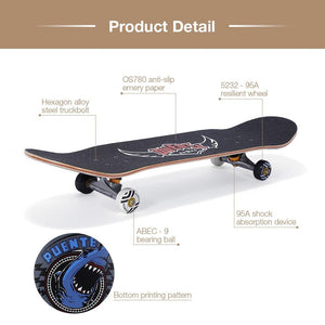 PUENTE 608 Adult Maple Four-wheel ABEC - 9 Skateboard - adventuresinoutdoorfun.com, Skateboards,