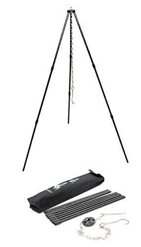 SEMPIYI Portable Outdoor Mini Camping BBQ Cooking Tripod, Aluminum Alloy, Detachable Bracket, Adjustable Hanging Chain, Suitable for Camping, Barbecue. (Black) : Sports & Outdoors - adventuresinoutdoorfun.com, Tripod,
