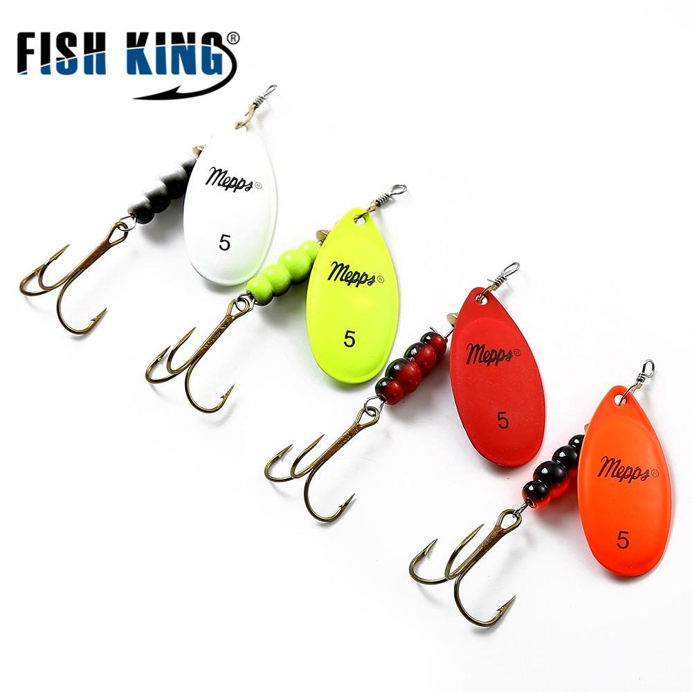 FISH KING Mepps Spinner Bait 0#-5# 4 Color With Mustad Treble Hooks 35647-BR Arttificial Bait Fishing Lure