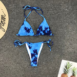 Sexy rendering print bikini set 2020 string bandage swimsuit women swimwear two-pieces bikinis mujer thong halter bathing suit