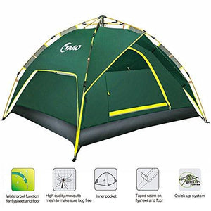 Family Camping Tents Automatic Hydraulic Instant Tent Pop Up 210T PU Protection Easy Set Up Dome Tent Waterproof Sun Shelter Fiberglass for Outdoor Backpacking Hiking (Green 3 Usages for 3 People) : Sports & Outdoors - adventuresinoutdoorfun.com, Tent,