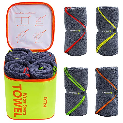 4 Pack Microfiber Bath Towel Camping Towel Swimming Towel Sports Towel with Accessory Bag, Quick Dry & Super Absorbent for Travel Gym, Suitable for Adults Kids Family, 24 X 48 Inch : Sports & Outdoors - adventuresinoutdoorfun.com, Towels,