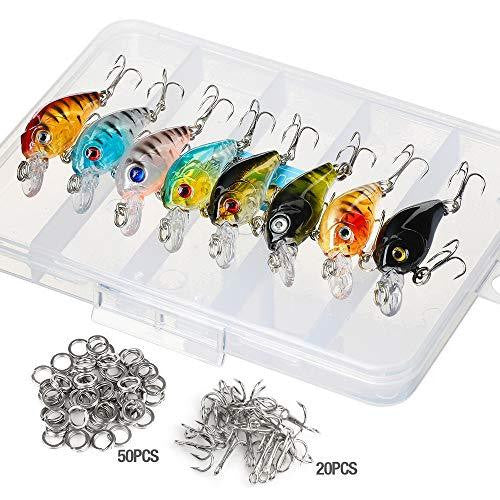 Donql Fishing Lure Set Minnow Baits Kit Wobbler Crankbaits with Hooks Hard Popper Lures for Saltwater Freshwater Trout Bass Salmon Fishing (Type 1-4.5 cm / 4g) : Gateway - adventuresinoutdoorfun.com, Fishing Lure,