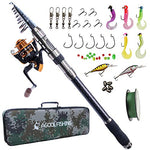 AGOOL Telescopic Fishing Rod and Reel Combo, Carbon Fiber Telescopic Spinning Portable Fishing Pole Fishing Gear with Line Lure Reel Hooks Fishing Bag for Sea Saltwater Freshwater Boat Fishing : Sports & Outdoors - adventuresinoutdoorfun.com, Fishing Pole,