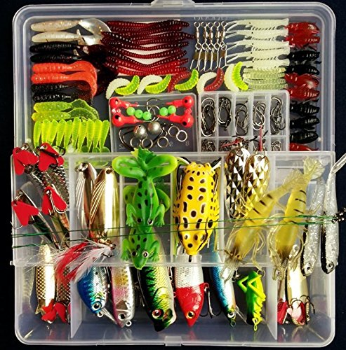PortableFun Fishing Tackle Lots, Fishing Baits Kit Set with Free Tackle Box,for Freshwater Trout Bass Salmon (Fishing Tackle Set ) - adventuresinoutdoorfun.com, Fishing Tackle,