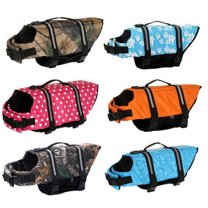 Dog Life Jacket Pet Saver Life Vest Swimming Preserver Dog Puppy Swimwear Surfing Swimming Vest Reflective Stripes