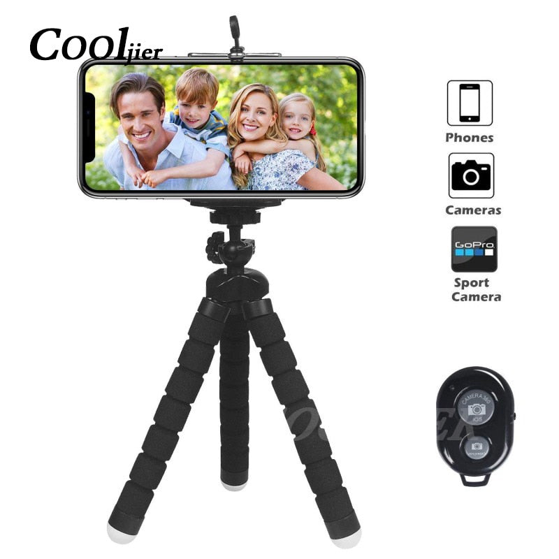 COOLJIER Flexible Sponge Octopus Mini Tripod With Bluetooth Remote Shutter For iPhone mini Camera Tripod Phone Holder clip stand - adventuresinoutdoorfun.com, 190307,