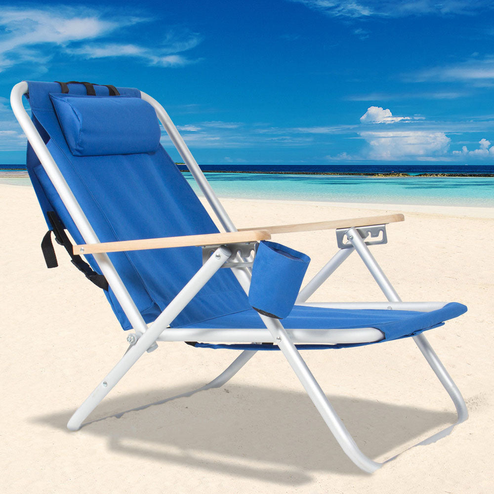 Foldable Portable High Strength Beach Chair Camping Fishing Chair With Adjustable Headrest