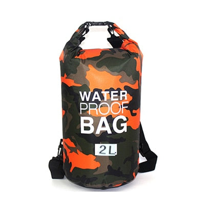 Outdoor Camouflage Waterproof Bag Portable Rafting Diving Dry Bag Sack PVC Folding Swimming Storage Bag for River Trekking 20L