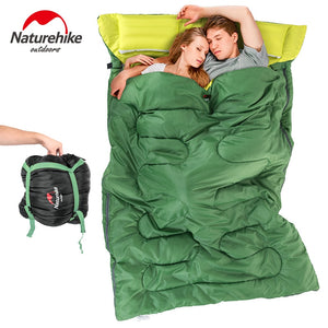 Naturehike Double Sleeping Bag With Pillow Outdoor Camping  Portable Envelope  Spring Autumn 2 Persons Cotton Sleeping Bag