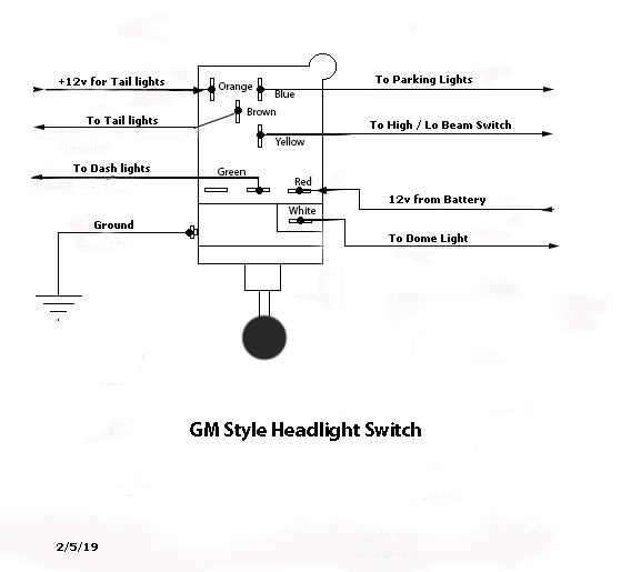 universal headlight switch wiring diagram  top wiring