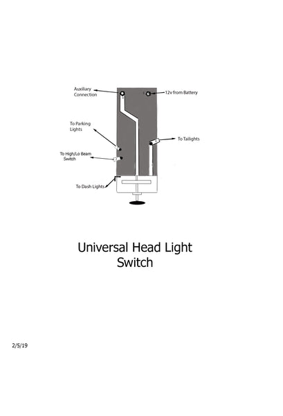 Universal Headlight Switch With Dimmer Black Bakelite