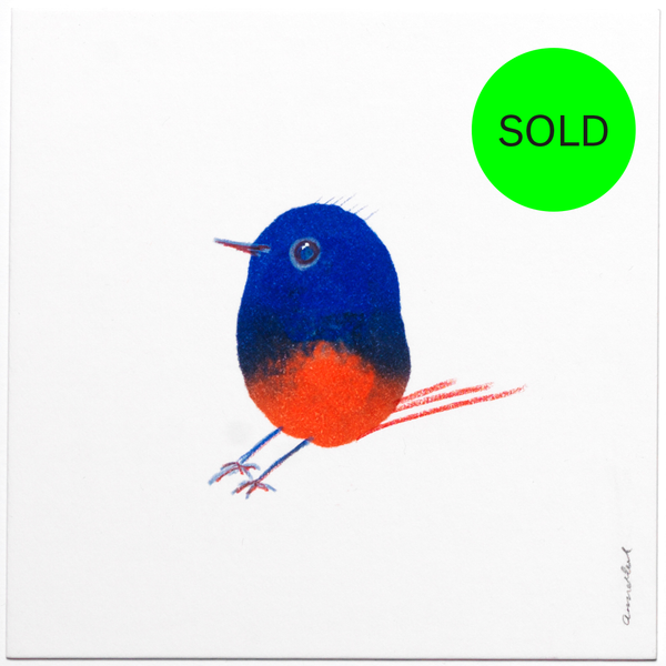 INKDROP BIRD NO.15 - ULTRAMARINE BLUE & PINKY RED - ORIGINAL DRAWING