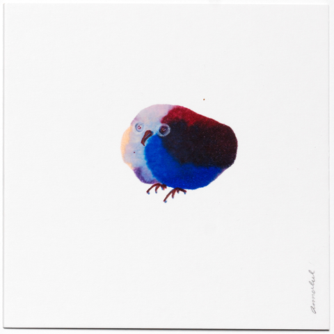 INKDROP BIRD NO.024 - GARNET & ULTRAMARINE - ORIGINAL DRAWING